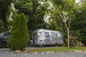 The 1966 Airstream Globetrotter parked in bear country.
