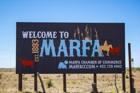 Welcome to Marfa sign, 9 miles away from Marfa...
